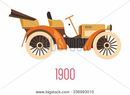 Retro Car With Open Top, Vintage Vehicle Of 1900, Isolated Icon