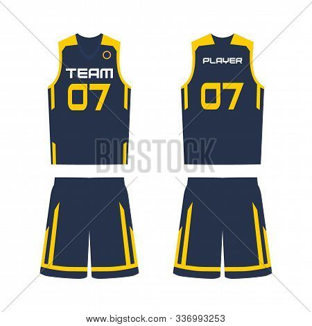 Basketball Jersey, Shorts, Template For Basketball Club. Front And Back View Sport Uniform.
