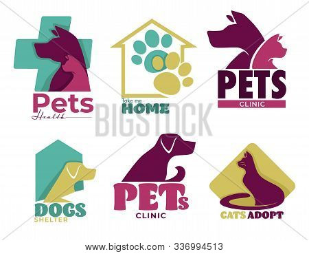 Pets Vet Clinic And Shelter Isolated Icons, Dog And Cat