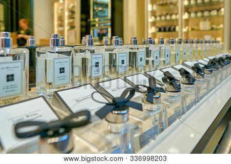 SINGAPORE - CIRCA APRIL, 2019: perfumes on display at Jo Malone London store in the Shoppes at Marina Bay Sands.