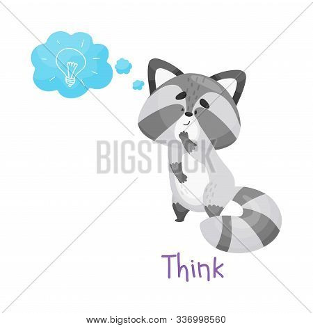 Cute Baby Raccoon Pondering With Handwritten Inscription Think Vector Illustration Cartoon Character