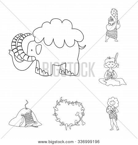Vector Design Of Primitive And Archeology Symbol. Collection Of Primitive And History Vector Icon Fo