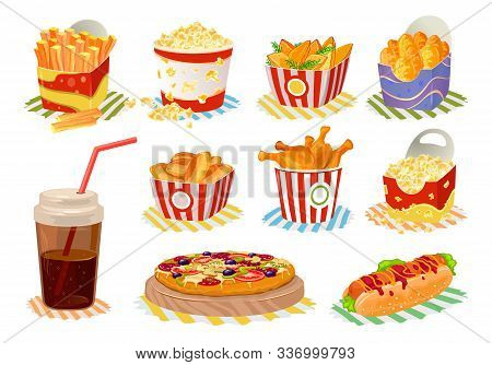 Big Vector Set With Fast Food In Disposable Packing French Fries, Roasted Chicken Leg Quarters, Swee