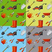 garden tools seamless pattern in four different color background poster