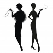 Silhouettes of two women in the retro style of the 50s or 60s isolated on white background poster