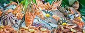 Fresh seafood arrangement displayed in market in Crete, Greece poster