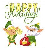 Happy elves preparing for christmas. Happy holiday caption, greeting card. Fairy characters among red sack with presents, santa claus helpers. Elf in costume and hat. Vector illustration in flat style poster