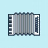 Blue line Musical instrument accordion icon isolated on blue background. Classical bayan, harmonic. Vector Illustration poster
