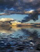 Beautiful mystery cloudscape and its reflection in the water. Great background poster