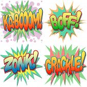 A Selection of Comic Book Exclamations and Action Words, Ka-boom, Boff, Zonk, Crackle. poster