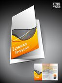 Professional 3D business flyer template or corporate brochure or cover design on grey and yellow wave  pattern with inner pages for publishing, print and presentation.EPS 10. poster