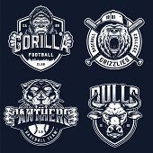Baseball and soccer clubs logotypes with ferocious angry gorilla bear black panther bull mascots in vintage monochrome style isolated vector illustration poster