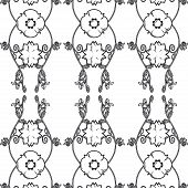 Illustration of a black and white vintage seamless pattern wallpaper. poster