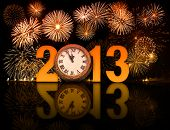 2013 year with fireworks and clock displaying 5 minutes before midnight poster