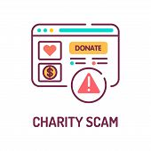 Charity scam color line icon. Cybercrime. Fake donation. Pictogram for web page, mobile app, promo. UI UX GUI design element. Editable stroke. poster