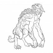 Werewolf. A legendary monster from european folklore tales. Black linear drawing isolated on a white background. Coloring book or tattoo design. EPS10 vector illustration. poster