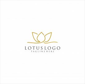 Lotus Flower Logo Vector Design . Lotus Flower Line Beauty Logo . Abstract Flower Design.