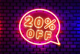 Neon Chat Frame 20 Off Text Banner. Night Sign Board.