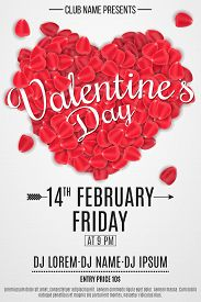 Poster For Valentine's Day Party. Heart Of Rose Petals With Text. Romantic Holiday. Dj And Club Name