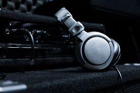 Close-up Of Boutique Recording Studio Control Desk, Dj Headphones For Professional Disc,  Equipment