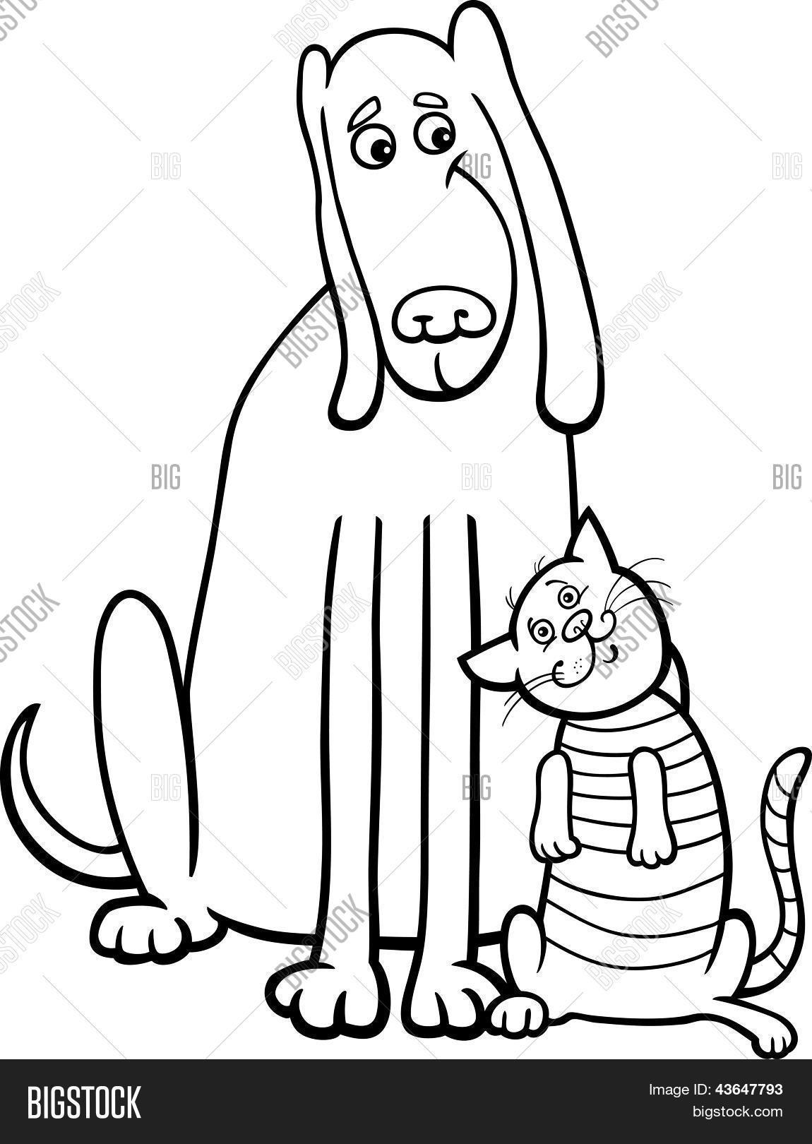 Vector y foto Perro Y Gato Dibujos Animados Para | Bigstock