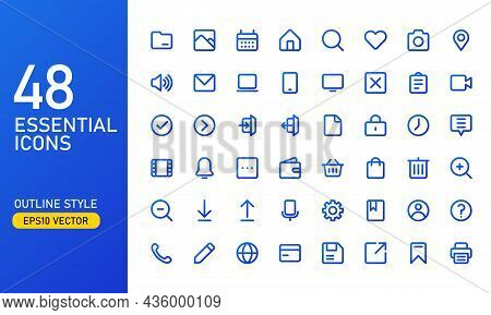 A Collection Of Frequently Used Essential Icons. Suitable For Design Elements Of Ui And Ux. Essentia
