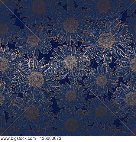 Vector Seamless Pattern Of Sunflowers. Luxury Art Deco Gold Metallic Linear Drawing On Deep Blue. De