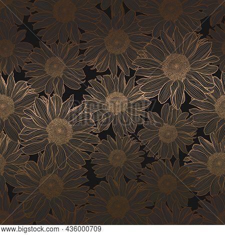 Vector Seamless Pattern Of Sunflowers. Luxury Art Deco Gold Metallic Linear Drawing On Dark Grey. De