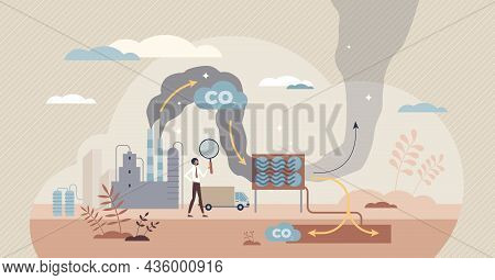 Carbon Capture As Co2 Reducing With Emission Utilization Tiny Person Concept. Greenhouse Gas Polluti