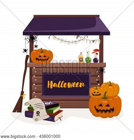 Stall Counter For Fall Halloween Holiday With Lanterns, Pumpkins, Books, And Witch Items. Festive De