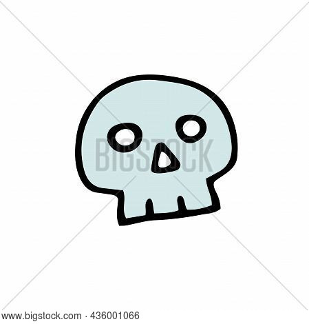 Doodle Halloween Scull. Color Skeleton Isolated On White Background. Hand-drawn Cute Scary Cranium.