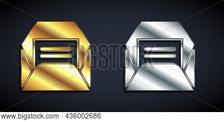 Gold And Silver Envelope Icon Isolated On Black Background. Received Message Concept. New, Email Inc