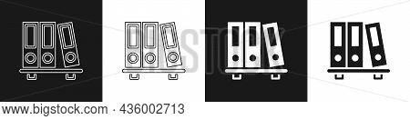 Set Office Folders With Papers And Documents Icon Isolated On Black And White Background. Office Bin