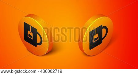 Isometric Cup Of Tea Icon Isolated On Orange Background. Orange Circle Button. Vector