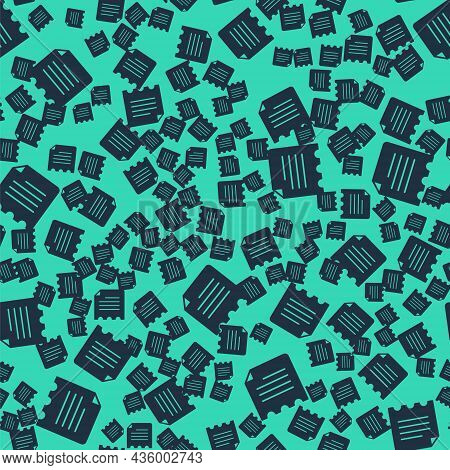 Black Notebook Icon Isolated Seamless Pattern On Green Background. Spiral Notepad Icon. School Noteb