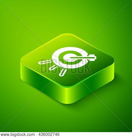 Isometric Target Financial Goal Concept Icon Isolated On Green Background. Symbolic Goals Achievemen