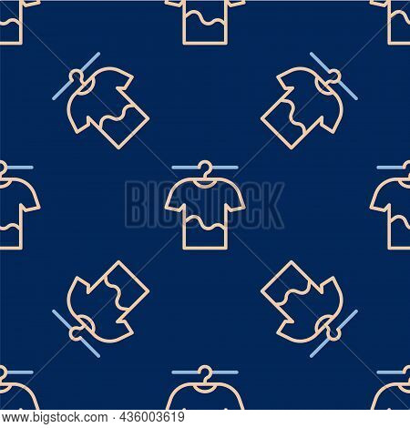 Line Drying Clothes Icon Isolated Seamless Pattern On Blue Background. Clean Shirt. Wash Clothes On