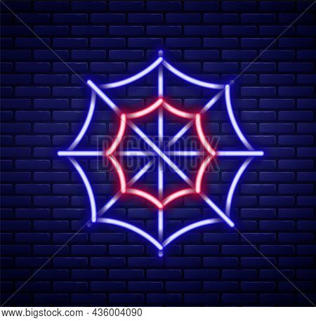 Glowing Neon Line Spider Web Icon Isolated On Brick Wall Background. Cobweb Sign. Happy Halloween Pa