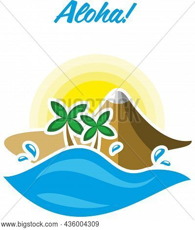 Bright Summer Poster With Sea, Palm Trees, Beach And Mountains. Summer Vector Illustration. Sun, Mou