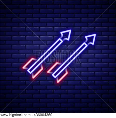 Glowing Neon Line Medieval Arrows Icon Isolated On Brick Wall Background. Medieval Weapon. Colorful