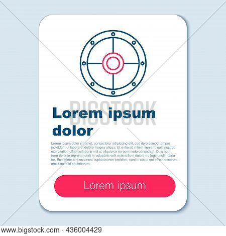 Line Round Wooden Shield Icon Isolated On Grey Background. Security, Safety, Protection, Privacy, Gu