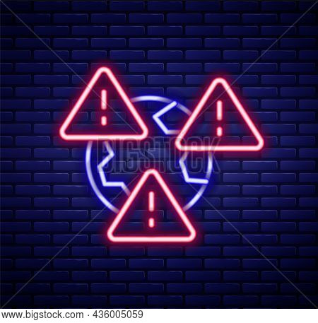 Glowing Neon Line Planet Earth Symbol With Exclamation Mark Icon Isolated On Brick Wall Background.