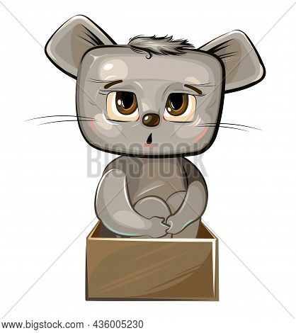 Cute Kid Mouse In A Cardboard Box. A Kind Kid Animal As A Gift. Illustration For Children. Isolated