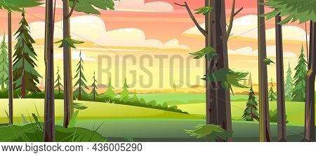 Rural Landscape. View From The Forest. Landscape With Wild Plants In The Morning. Illustration In Ca
