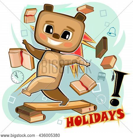 Little Bear. Young Cub. Cute Child Scatters Books. He Enjoys Holidays And Weekends. Cartoon Style. I