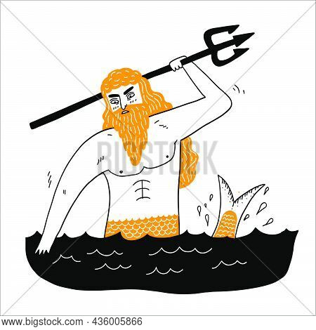 Sea God Poseidon Neptune Suitable For Icons, Lgods, Beliefs, Antiquity, Superstitions, Vector Illust