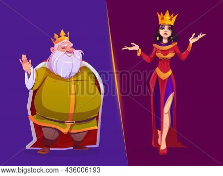 King And Queen Medieval Royal Family Characters. Monarchy Husband And Wife In Gold Crowns And Luxury