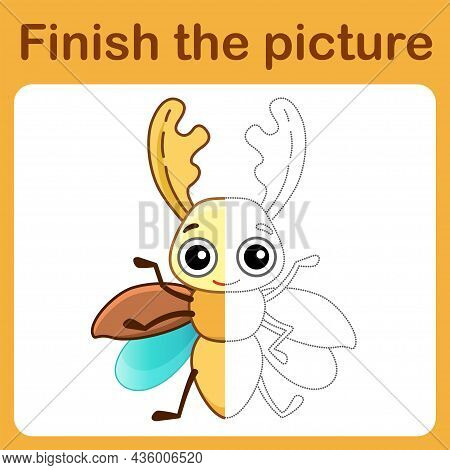 Connect The Dot And Complete The Picture. Simple Coloring Funny Insect Stag Beetle. Drawing Game For