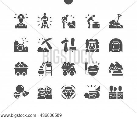 Mining. Diamond And Mineral. Excavator. Engineering, Machinery. Vector Solid Icons. Simple Pictogram