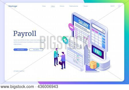 Payroll Banner. Concept Of Salary Payment To Employee, Paycheck, Wages For Work. Vector Landing Page